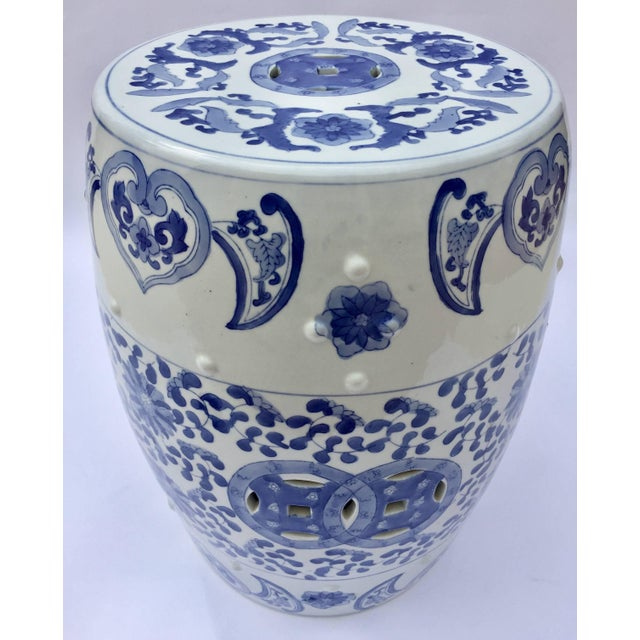 Chinese Porcelain Garden Seat in Blue and White Floral Motif For Sale - Image 13 of 13