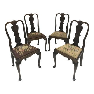 1920s Vintage English Needlepoint Dining Chairs- Set of 4 For Sale