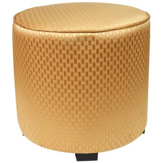 Modern Round Gold Moroccan Pouf For Sale