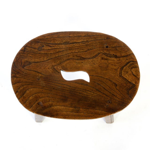 Oval Elmwood Work Stool With Pierced Top, English, Circa 1830 For Sale - Image 4 of 5
