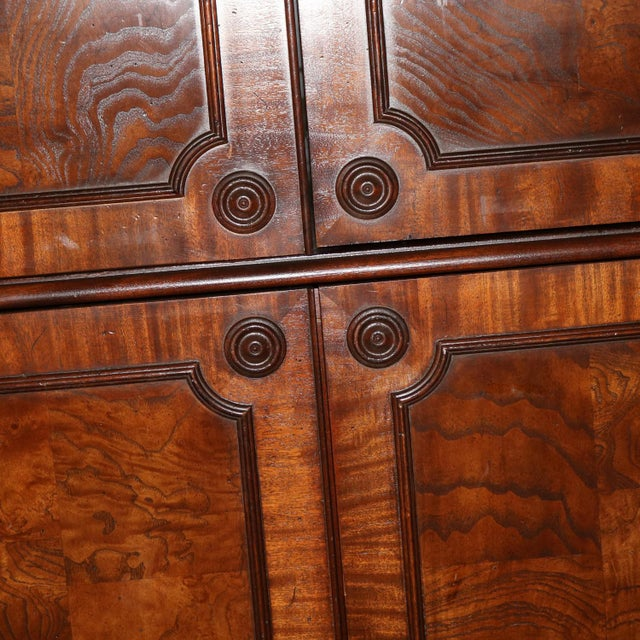 Gold Georgian Style Large Mahogany Entertainment Armoire Wardrobe Cabinet by Hekman For Sale - Image 8 of 13