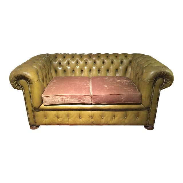 Antique English Leather Chesterfield Loveseat - Image 1 of 8