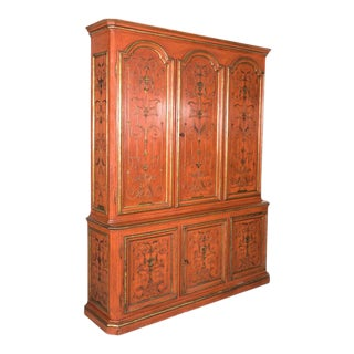 Mid-20th Century French Louis XIV Style Red Lacquer Chinoiserie Buffet Deux Corp For Sale