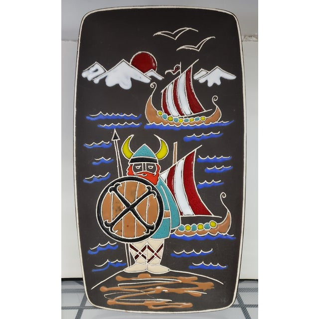 Mid-Century Modern Mid 20th Century Italian Bitossi Style Ceramic Viking Motif Wall Plaque For Sale - Image 3 of 3