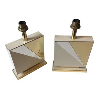 1970s Lacquered and Brass Table Lamps - a Pair For Sale