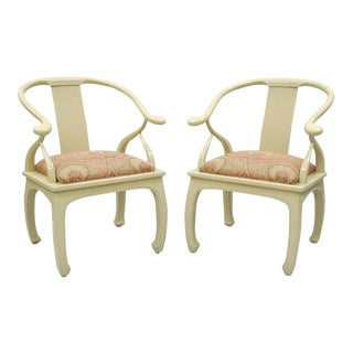 Vintage Cream Lacquered James Mont Style Ming Horseshoe Lounge Chairs - A Pair For Sale