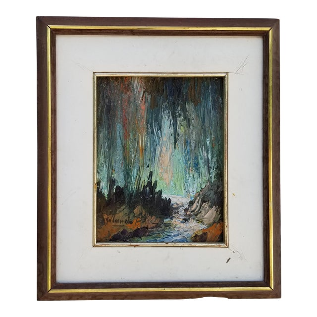 Vintage Impasto Landscape Abstract Painting by Yolanda P. For Sale