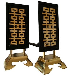 Mid-Century Asian Inspired Andirons