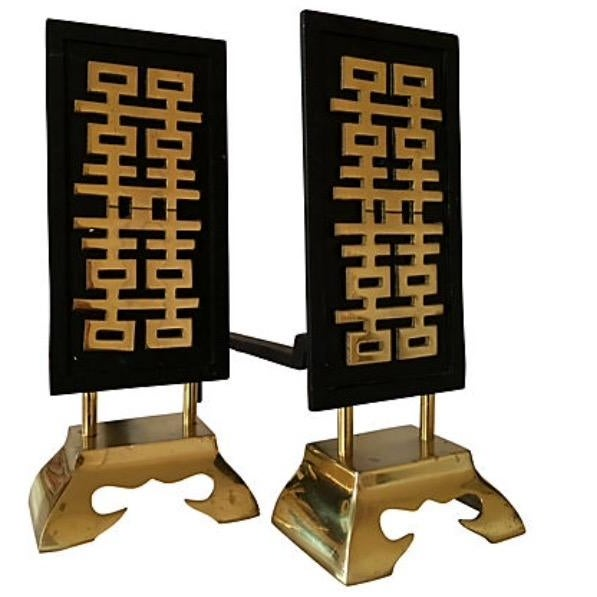 Mid-Century Asian Inspired Andirons For Sale