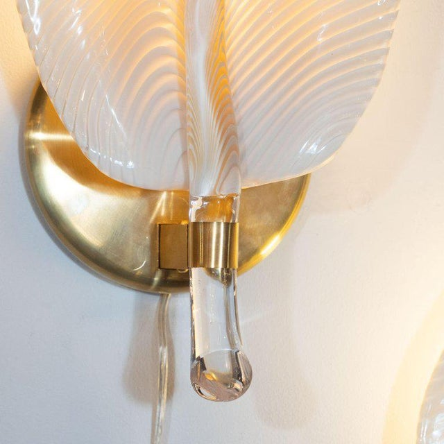 Pair of Handblown Murano Honeycomb Leaf Sconces With Brass Detailing For Sale - Image 9 of 11