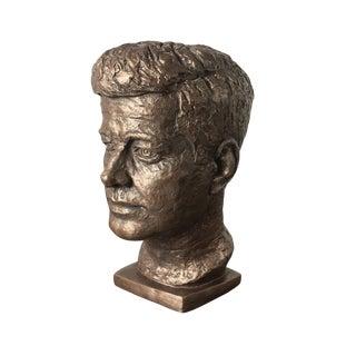 1960s Vintage John F. Kennedy Bronze Plaster Bust For Sale