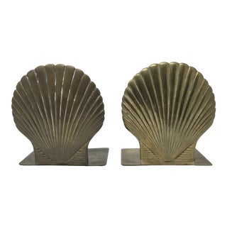 Vintage Giant 1980s Brass Scallop Bookends For Sale