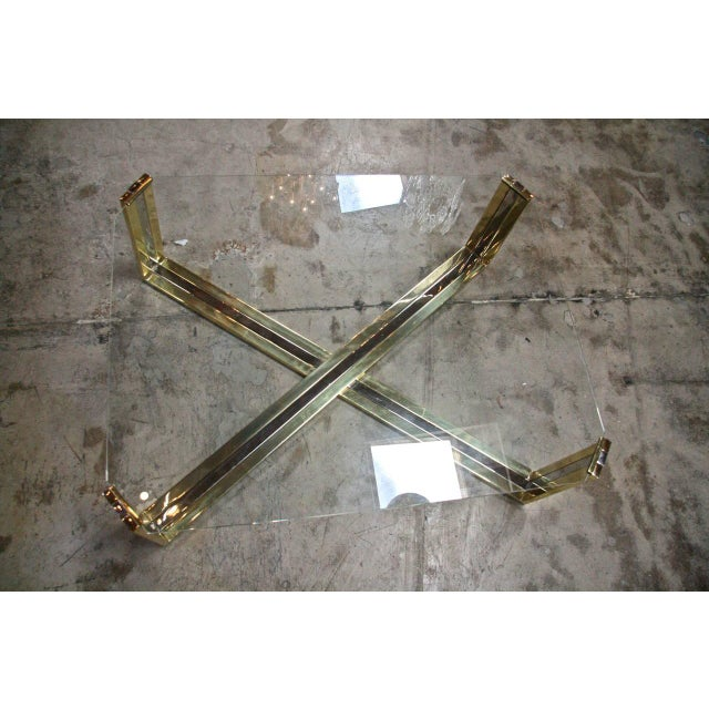 Italian Coffee Table Brass and Steel, 1960s For Sale - Image 4 of 9