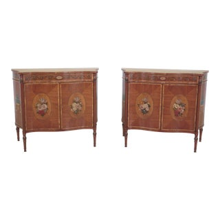 English Adam Paint Decorated 2 Door Commode Servers - a Pair For Sale