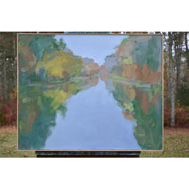 """""""Overcast Autumn Day at the Pond"""" Contemporary Landscape Painting by Stephen Remick For Sale - Image 9 of 11"""
