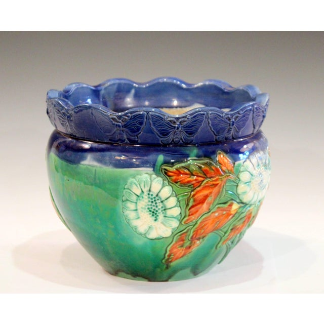 Art Deco Awaji Pottery Jardiniere Applied Butterflies Blossoms Planter For Sale - Image 3 of 9