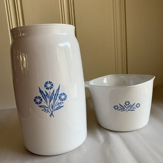Classic Vintage Corning Blue & White Kitchen Vessels, Set of Two Preview