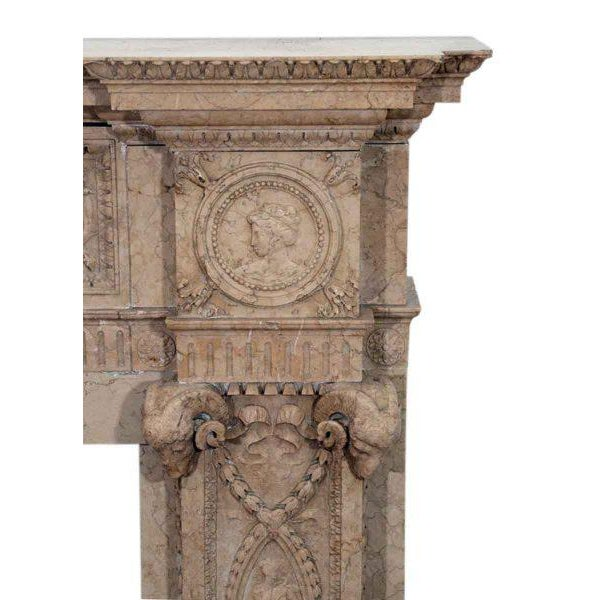 Edwardian Carved Sienna Marble Mantel - Image 2 of 3