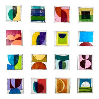 """Sunny With a Chance of Fun"" Contemporary Encaustic Collage Installation Paintings by Gina Cochran - Set of 16 For Sale"