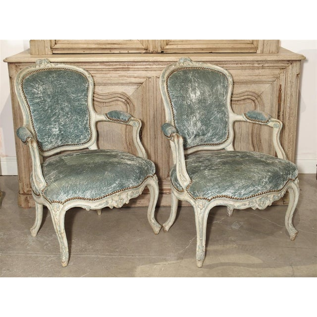 Pair of Period French Louis XV Blue and Cream Lacquered Cabriolet Armchairs For Sale - Image 13 of 13