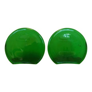 Emerald Blenko Bookends For Sale