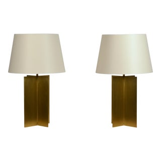 Large Custom Polished Brass 'Croisillon' Lamps by Design Frères - a Pair For Sale