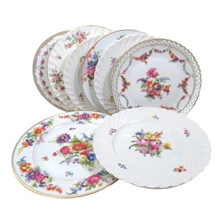 Vintage Mismatched China Dinner Plates - Set of 8 For Sale