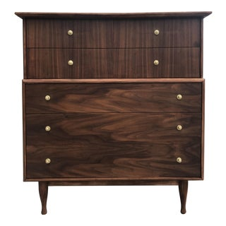 Mid-Century Highboy With Brass Knobs