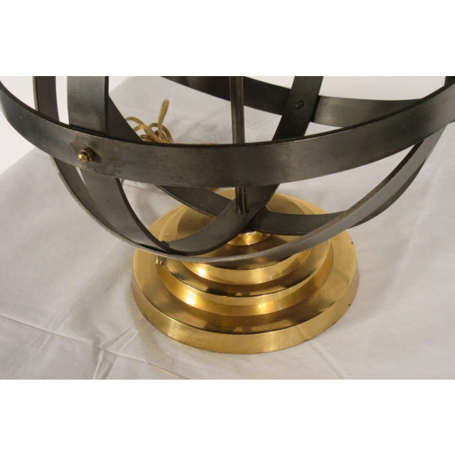 Mid-Century Modern 1970s Metal Orb Lamp With Metal and Brass Shade For Sale - Image 3 of 12
