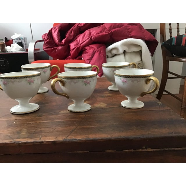 White Antique China Egg Cup With Handles - Set of 6 For Sale - Image 8 of 10