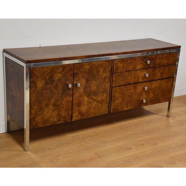Tomlinson Burl and Chrome Credenza For Sale - Image 11 of 11