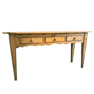 1990's Vintage French Country Rustic Pine 3 Drawer Table For Sale