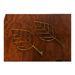 Italian Brass Leaf Trivets, a Pair For Sale