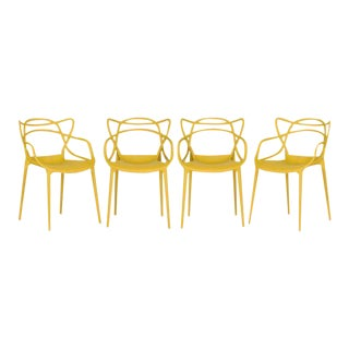 Mustard Yellow Kartell Masters Chairs - Set of 4
