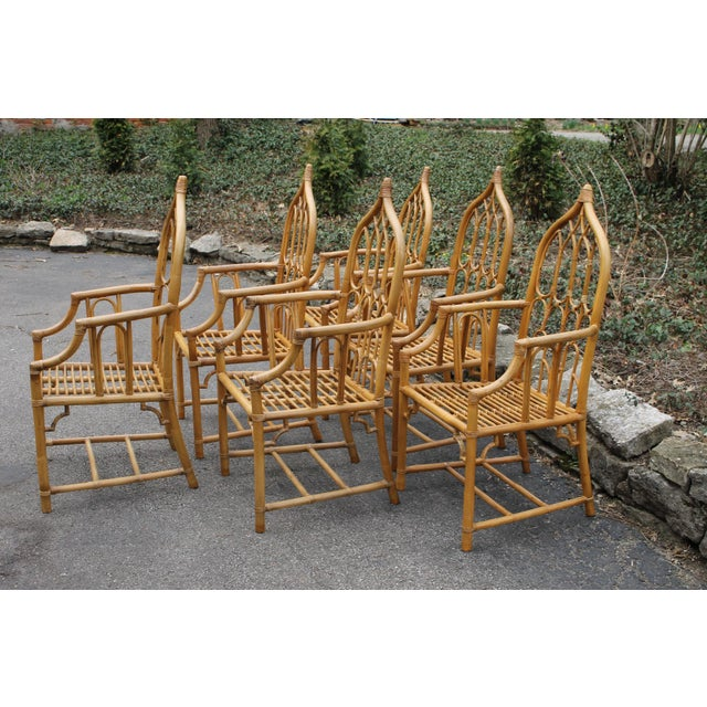 1970s 1970s McGuire Style Rattan Bamboo Gothic Cathedral Chairs All Arm Chairs - Set of 2 For Sale - Image 5 of 12