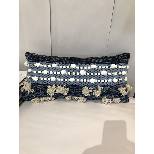 Boho Chic Boho Chic Kenneth Ludwig Chicago Blue Pillow For Sale - Image 3 of 6