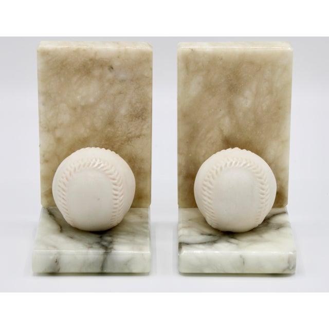 Italian Mid Century Italian Alabaster Baseball Bookends For Sale - Image 3 of 10