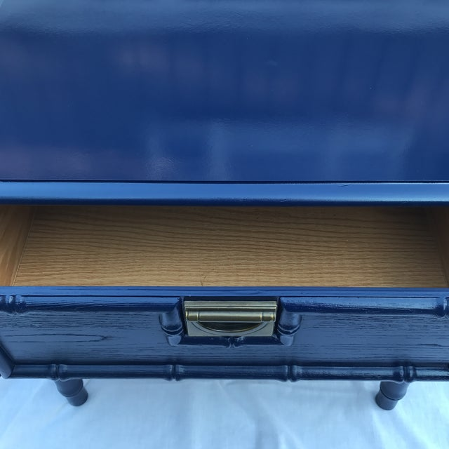 Navy Faux Bamboo Side Table For Sale In Cincinnati - Image 6 of 6