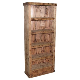 Tall Narrow Pine Rustic Book Case For Sale