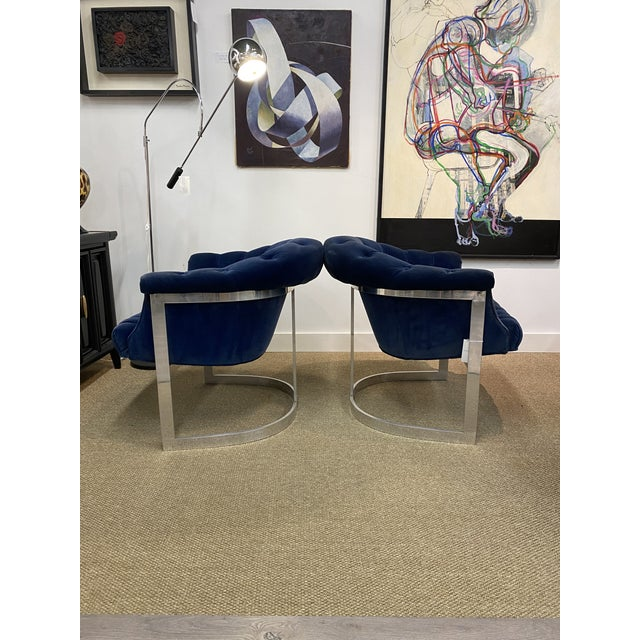 Mid-Century Modern Vintage Milo Baughman Thayer Coggin Cantilever Chrome Tufted Club Chairs Navy Blue - a Pair For Sale - Image 3 of 8