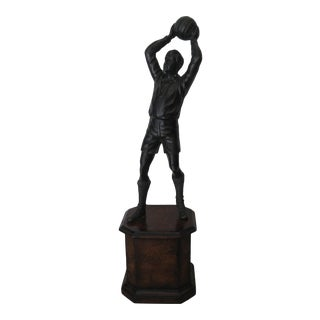 Decorative Soccer Figure on a Pedestal For Sale