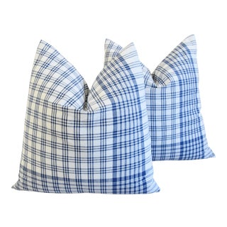 "French Country Blue & White Plaid Feather/Down Pillows 24"" Square - Pair For Sale"