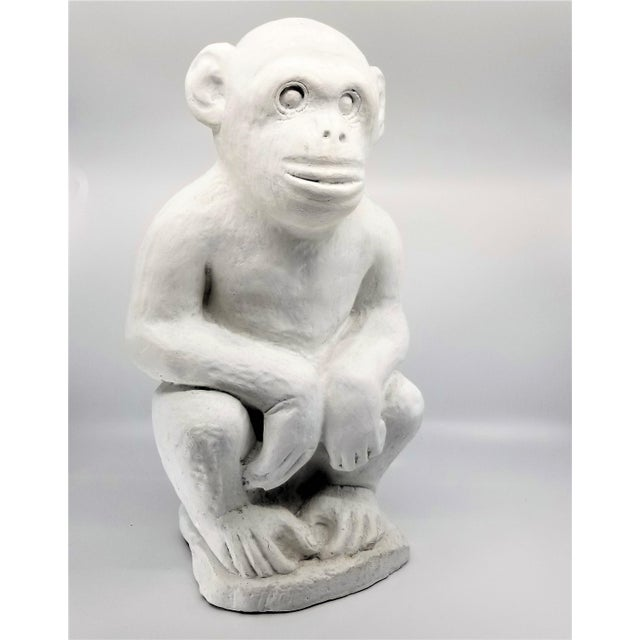 Vintage White Cement Monkey Sculpture Doorstop - Palm Beach Boho Chic Mid Century Modern Animal For Sale - Image 9 of 10
