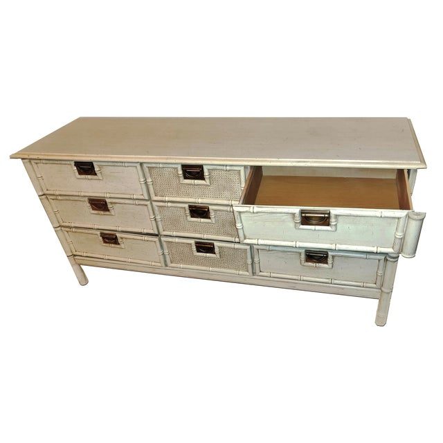 """Stanley Furniture 1970s Stanley Furniture """"Bali Hai"""" Campaign Faux Bamboo 9 Drawer Dresser For Sale - Image 4 of 8"""