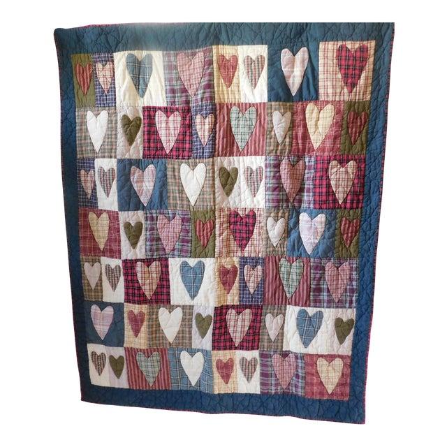 Child's Vintage Patchwork Heart Quilt For Sale