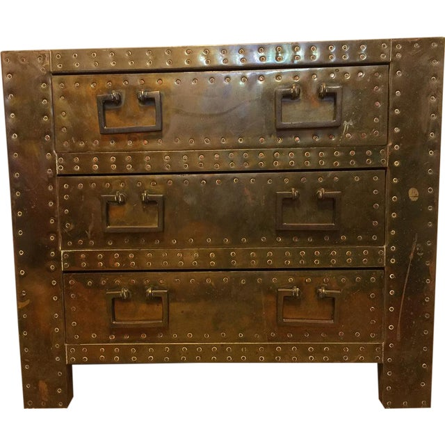 Sarreid Brass Clad Chest with Hand Hammered Nails - Image 1 of 3