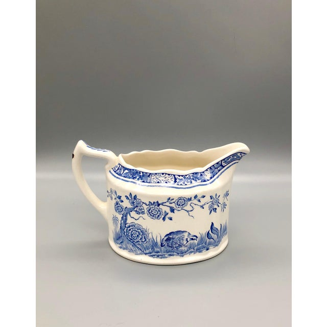 Blue and White Furnivals Quail 1913 Pottery Teapot, Creamer and Sugar Bowl Set For Sale - Image 9 of 13