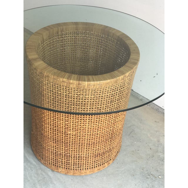 Contemporary Vintage Contemporary Rattan & Glass Top Table For Sale - Image 3 of 4