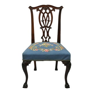 Chippendale Carved Ball & Claw Mahogany Dining Side Chair Blue Needlepoint Seat For Sale