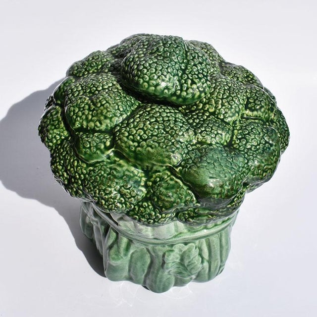 Mid Century Modern Ceramic Green Vegetable Broccoli Trompe L'oeil Cookie Jar For Sale - Image 4 of 7